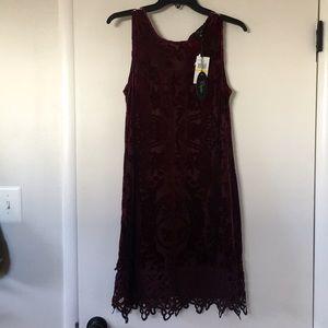 Velvet burgundy dress with lots of detail